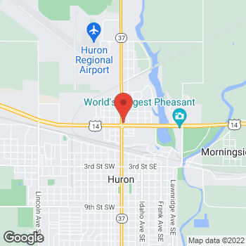 Map of Taco John's at 410 Dakota Ave N, Huron, SD 57350