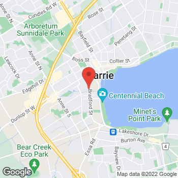 Map of Tim Hortons at 80 Bradford St, Barrie, ON L4N 6S7