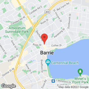 Map of Tim Hortons at 80 Bayfield St, Barrie, ON L4M 3A8