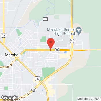 Map of Taco John's at 1300 E College Dr, Marshall, MN 56258