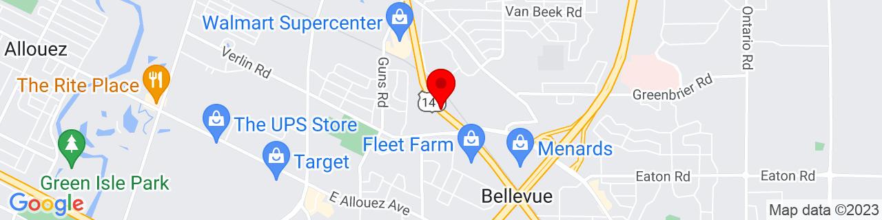 Google Map of 44.47198119999999, -87.9658041