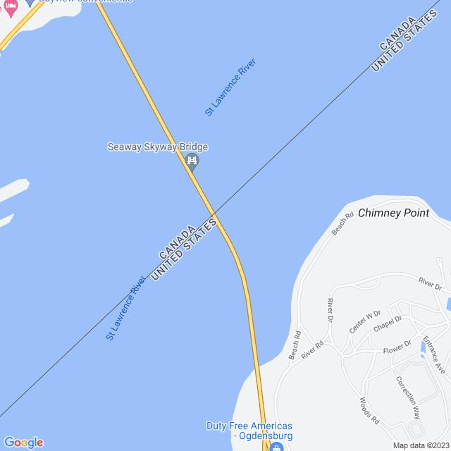 Map of Ogdensburg Prescott Bridge