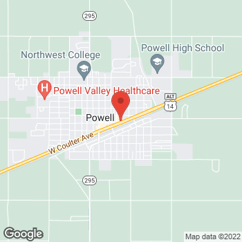 Map of Taco John's at 525 East Coulter Ave, Powell, WY 82435