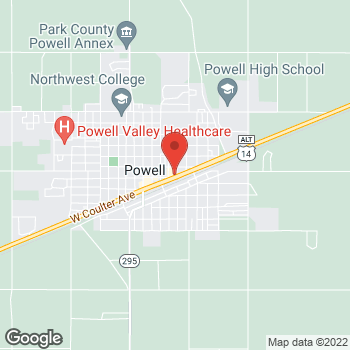 Map of Taco John's at 525 East Coulter Avenue, Powell, WY 82435