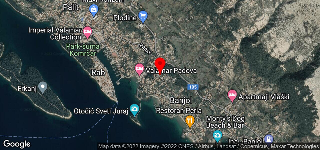 Google Map of Rab Banjol Croatia apartments