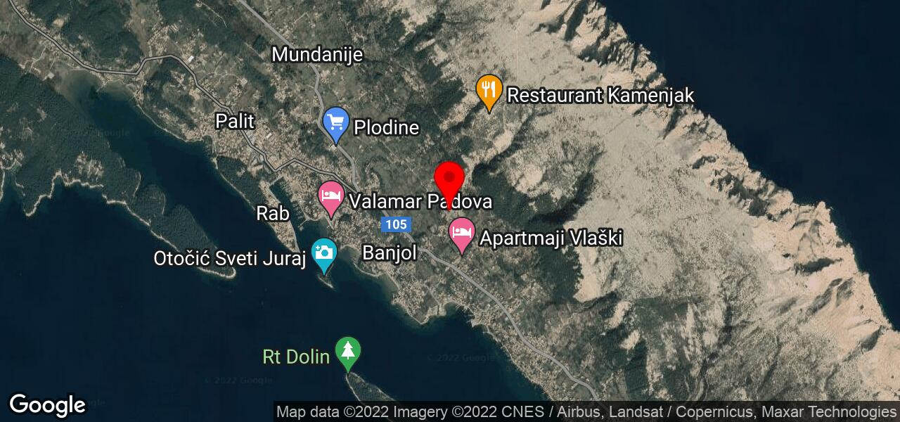 Google Map of apartments Banjol iii in Croatia with grill