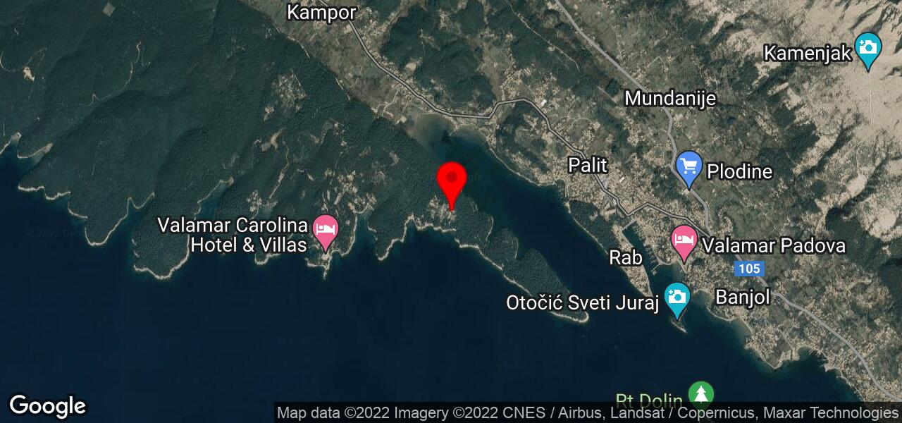 Google Map of Croatia beach resort - KANDAROLA Rab