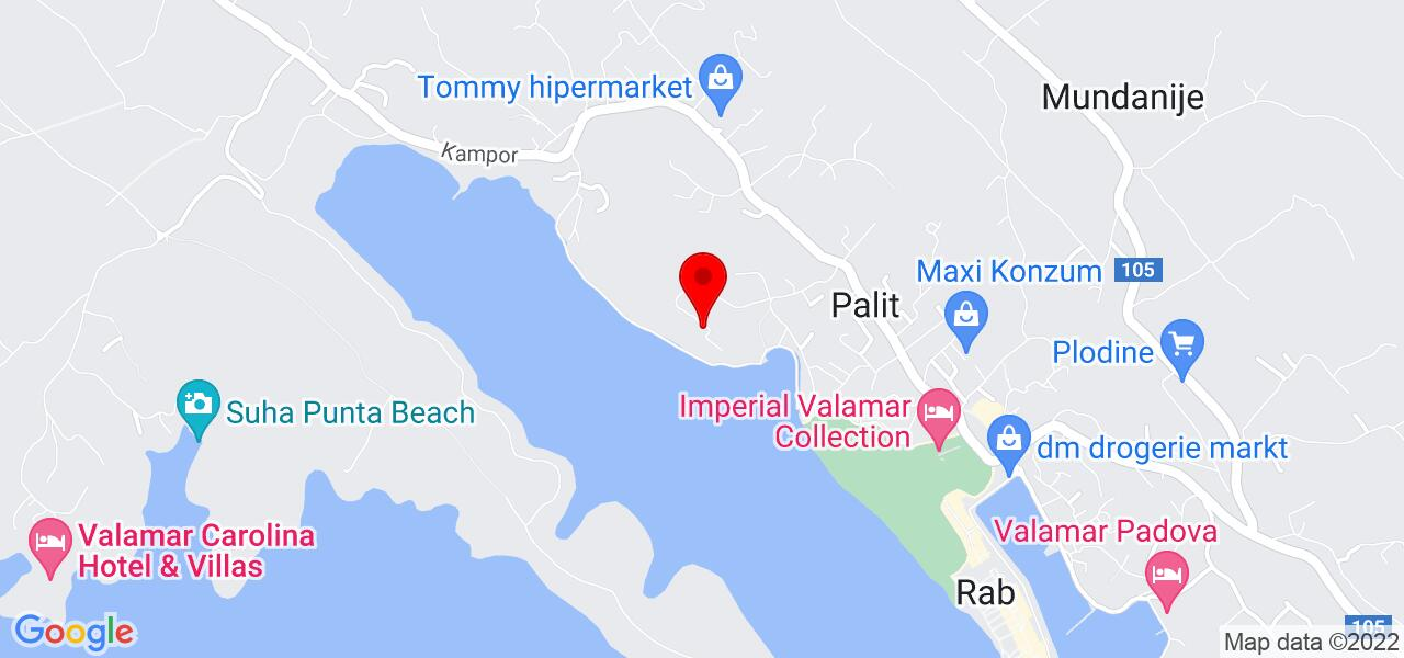 Google Map of Rab apartment near old town Rab