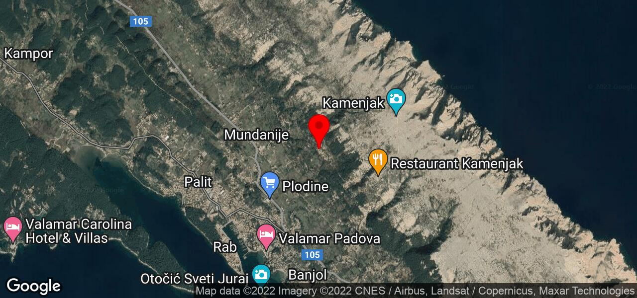 Google Map of property with swimming pool in Rab Croatia - KAMENJAK HILL