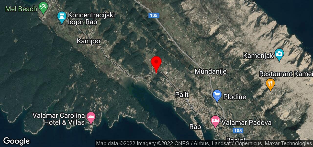 Google Map of vacation house on Adriatic islands, Croatia