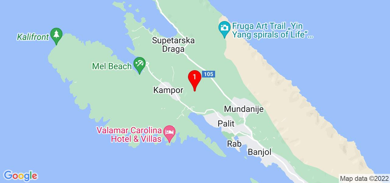 Google Map of Holiday house in Croatia - rent on Rab