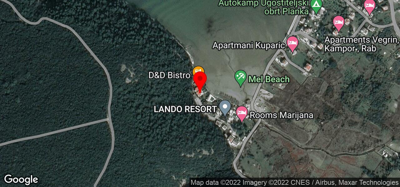 Google Map of apartments MEL in Rab Croatia