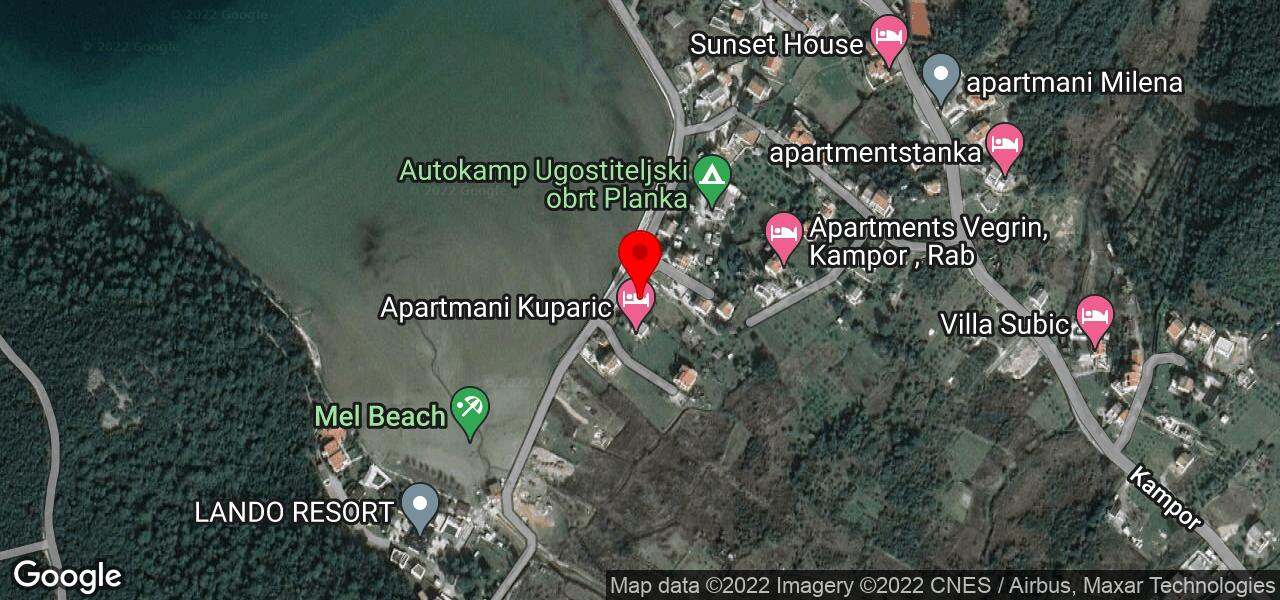 Google Map of Lettings in Croatia MEL V - Apartments by the beach