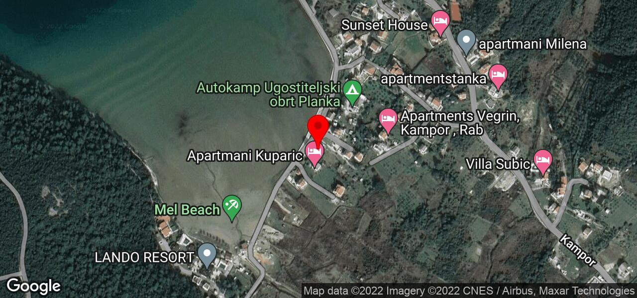 Google Map of Apartments in Kampor on Rab in Croatia - RUZA