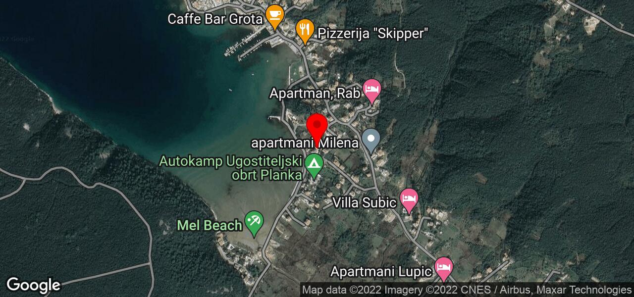 Google Map of holiday home on island Rab Croatia