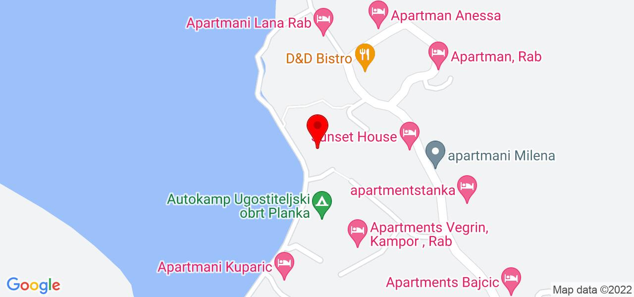 Google Map of House with sea view by the beach in Croatia - BEACH MEL