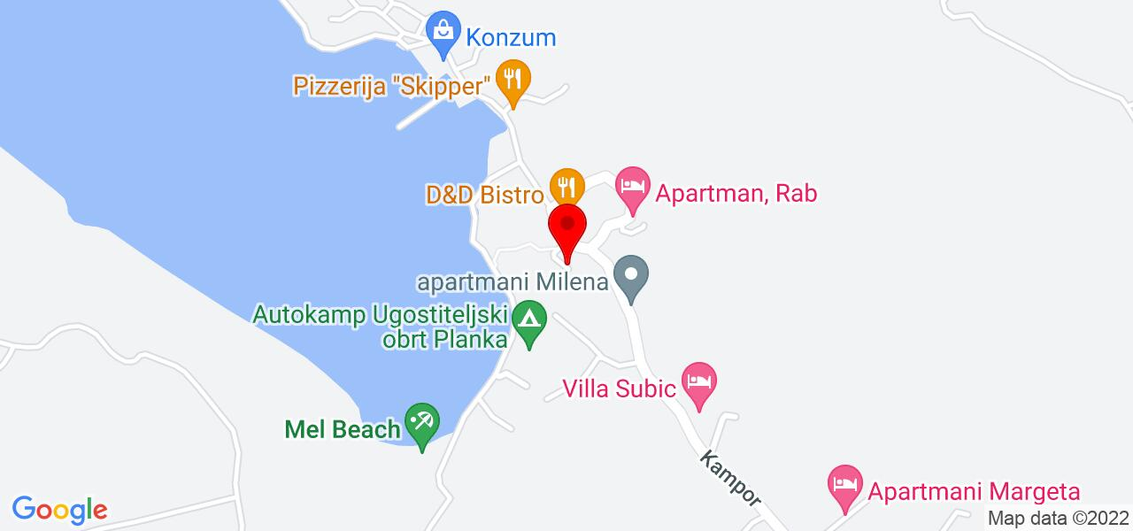 Google Map of apartments for rent on island Rab by a sandy beach - MEL IV