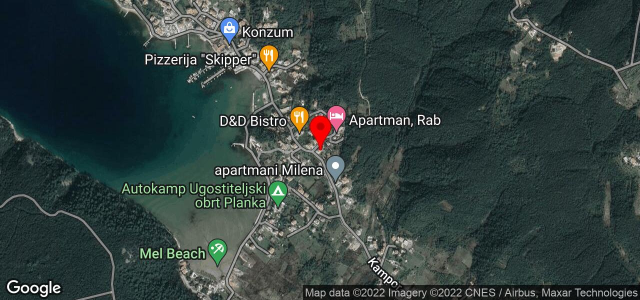 Google Map of pool and tennis apartments in Kampor island Rab - MEL II