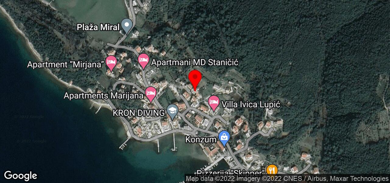 Google Map of Rab Kampor apartments on Rab island
