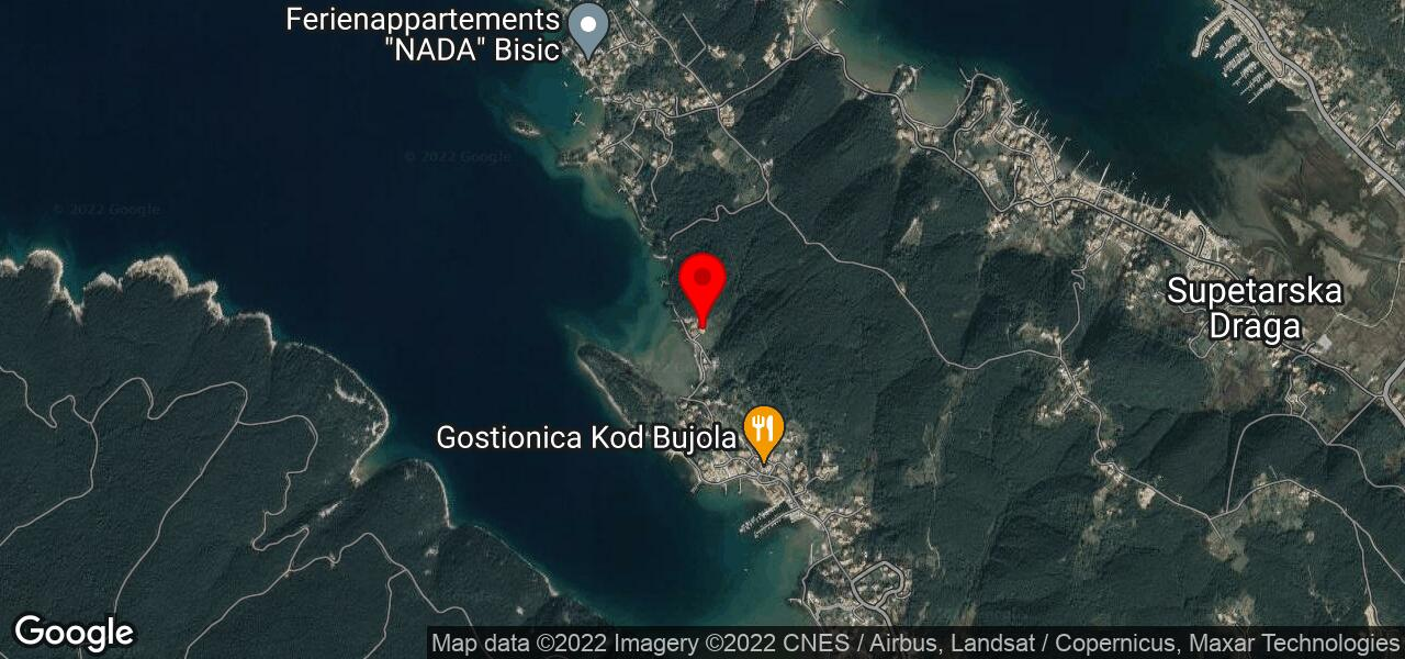 Google Map of accommodation on island Rab by the sea in Kampor - MARIJA