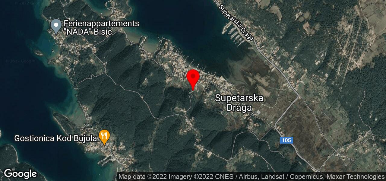 Google map of private holiday home Rab - Romano