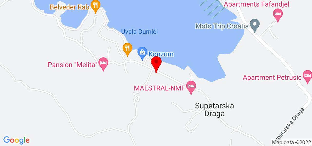 Google Map of Croatia apartments on Rab island - POLDAN