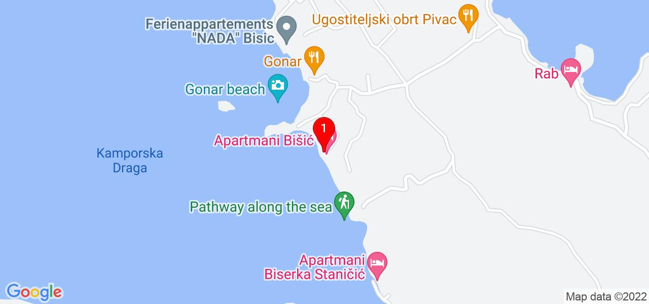 Google Map of apartments by the sea in Croatia