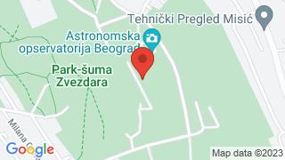 Astronomical observatory of Belgrade map