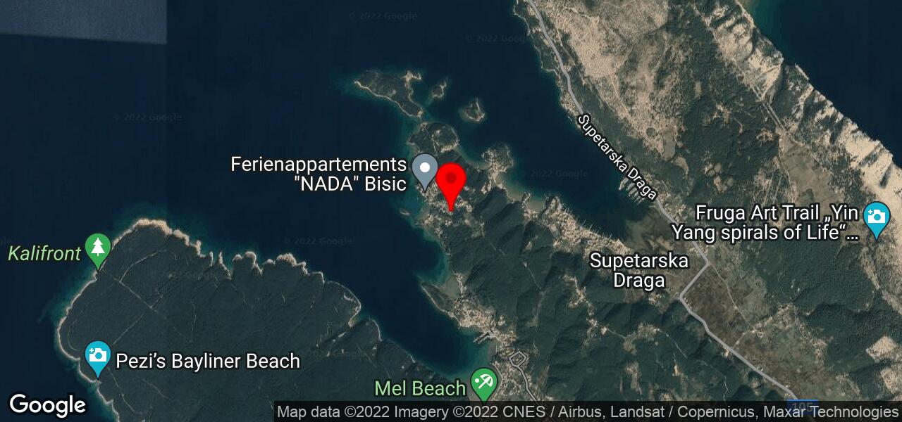 Google Map of jacuzzi accommodation in Croatia - Rab Gonar beach