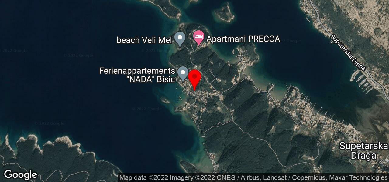 Google Map of Croatian island house MLADENKA