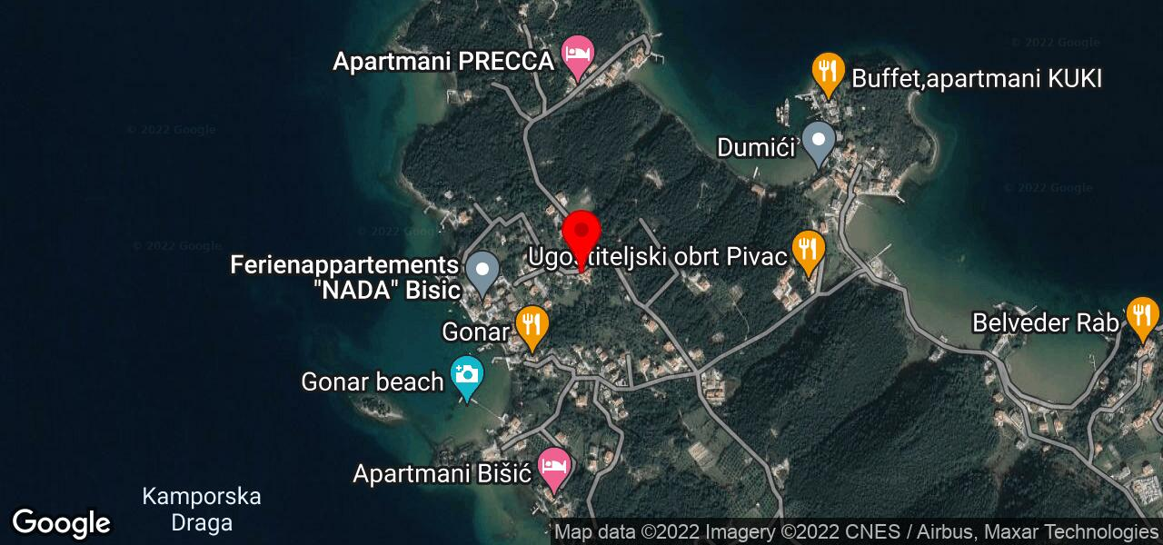 Google Map of Croatia island Rab apartment STEF