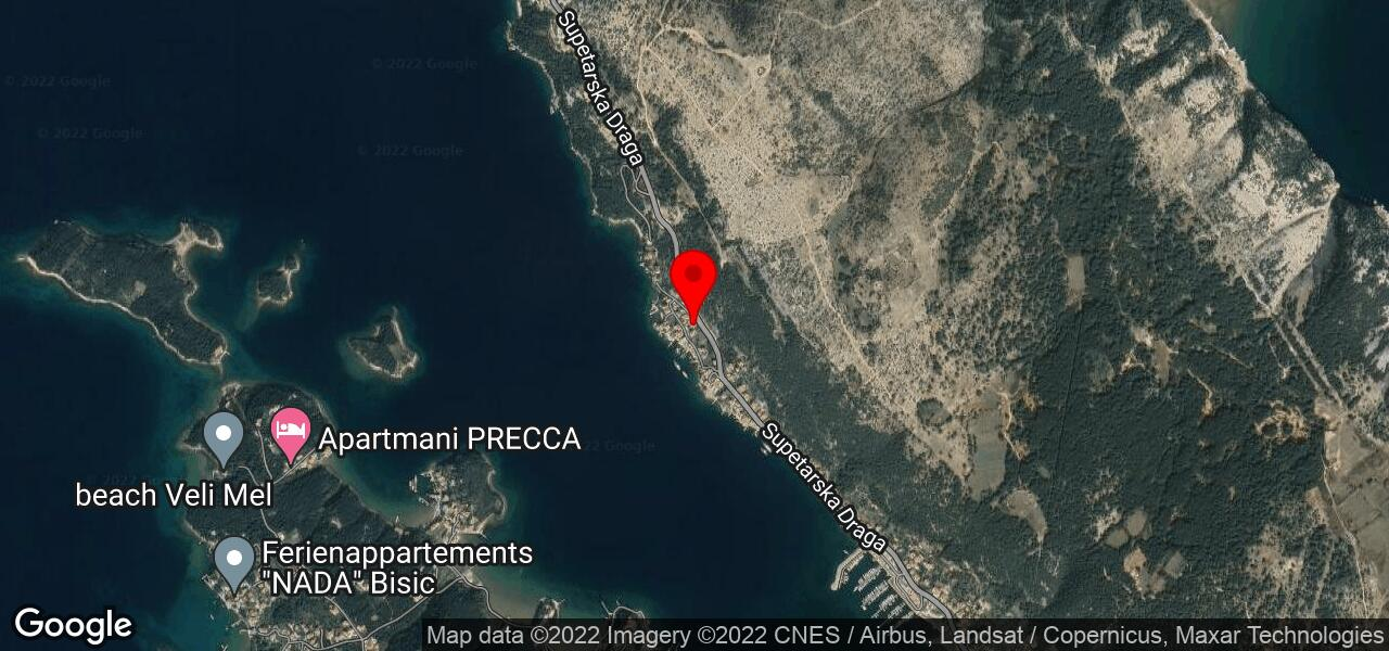 Google Map of Rab apartments RUZA II - island Rab lettings