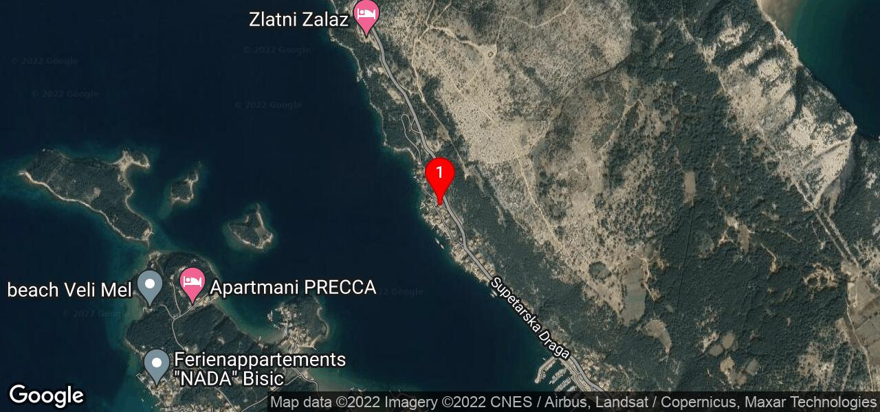Google Map of Kvarner island Rab - house SUSIC