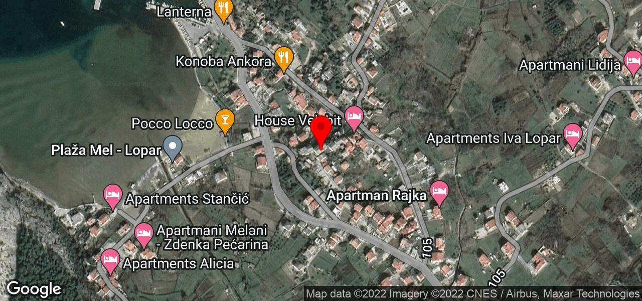 Google Map of Lopar rent apartments - LOPAR III near Croatia's best beaches