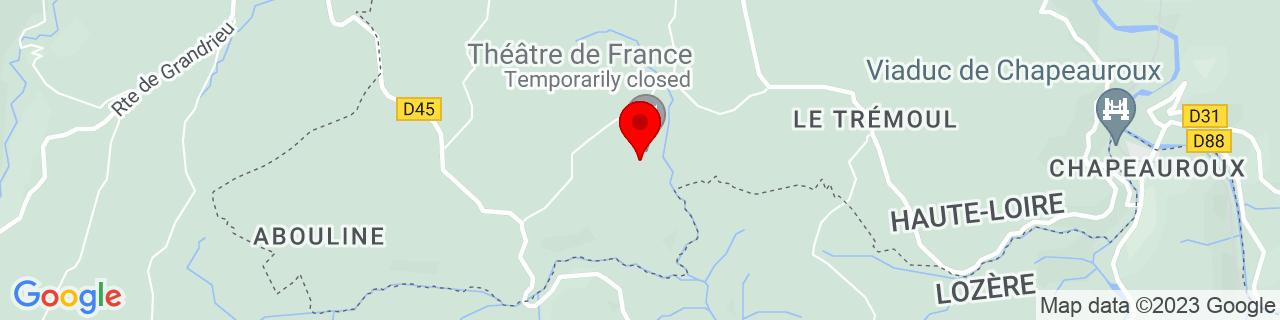 Google Map of 44.837922222222225, 3.694288888888889