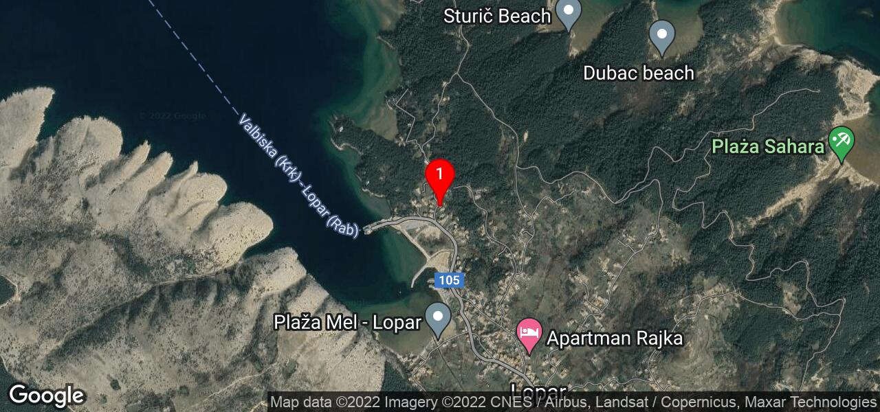 Google Map of Rab LOPAR IV apartments near nudist beaches and ferry port