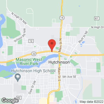 Map of Taco John's at 134 4th Avenue NW, Hutchinson, MN 55350