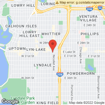 Map of Dr. Theodore Hansen, Optometrist, and Associates - Mpls at 1 West Lake Street, Minneapolis, MN 55408