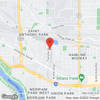 Map of Mighty Auto Parts at 858 Transfer Road, Saint Paul, MN 55114