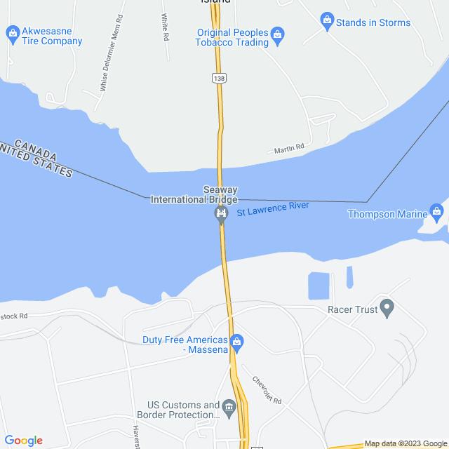 Map of Seaway International (Cornwall-Massena) Bridge