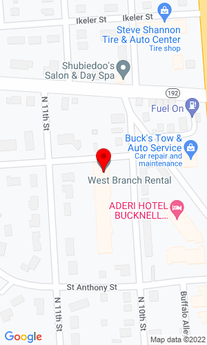 Google Map of West Branch Rental 441 N 10th Street, Lewisburg, PA, 17837