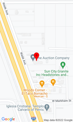 Google Map of The Auction Company 4461 Wade Ave., Perris, CA, 92571