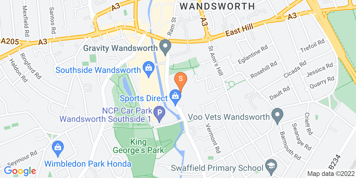 Google Map of 45 Garratt Lane London SW18 4AD