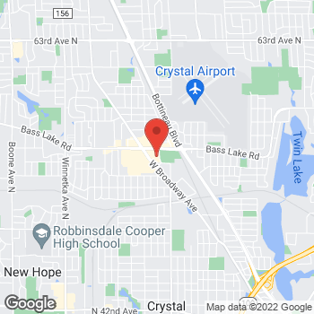 Map of Pizza Ranch at 5526 W Broadway Ave, Crystal, MN 55428