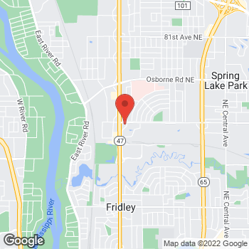 Map of Taco Bell at 7295 University Ave NE, Fridley, MN 55432