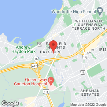 Map of LensCrafters at 100 Bayshore Drive, Nepean, ON K2B 8C1