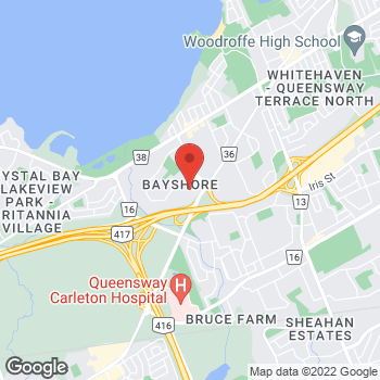 Map of LensCrafters - Temporarily Closed at 100 Bayshore Drive, Nepean, ON K2B 8C1