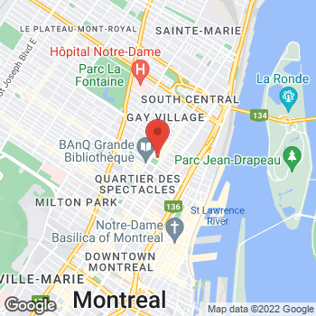 Map of Staples at 845 rue St. Catherine Est, Montreal, QC H2L 2E4