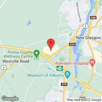 Map of Tim Hortons at 689 Westville Rd Highland Square Mall, New Glasgow, NS B2H 2S6