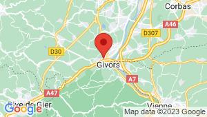 Carte de localisation du centre de contrôle technique GIVORS